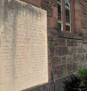 plaque on Metropolitan Wesley AME Zion Church
