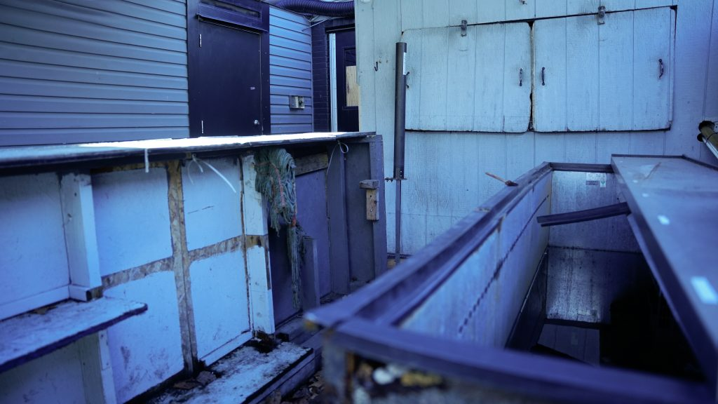 Rusted and flooded bar ice chest on a back porch
