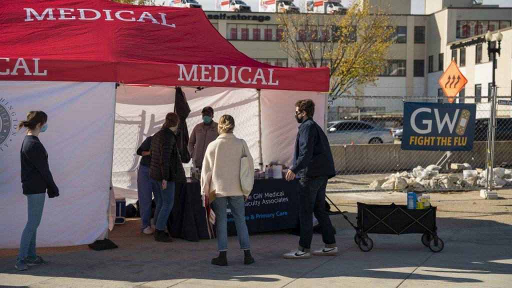 Medical tent at Nationals Park giving flu shots