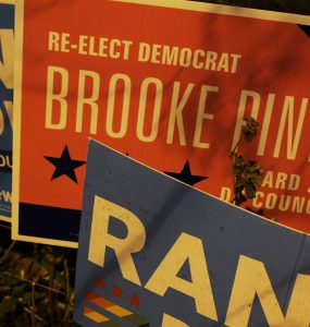 Campaign signs for Pinto and Downs sit next to each other