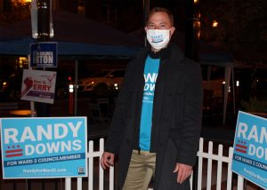 Randy Downs poses outside campaign watch party