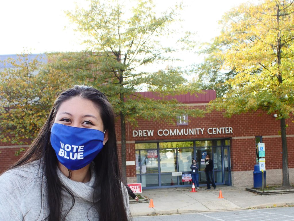 Jocelyn Flores, a 29-year-old Arlington resident, was eager to vote on Election Day at the polling station. Drew Community Center was one of 50 polling stations open on Election Day.(Alex Lucas / The Wash)