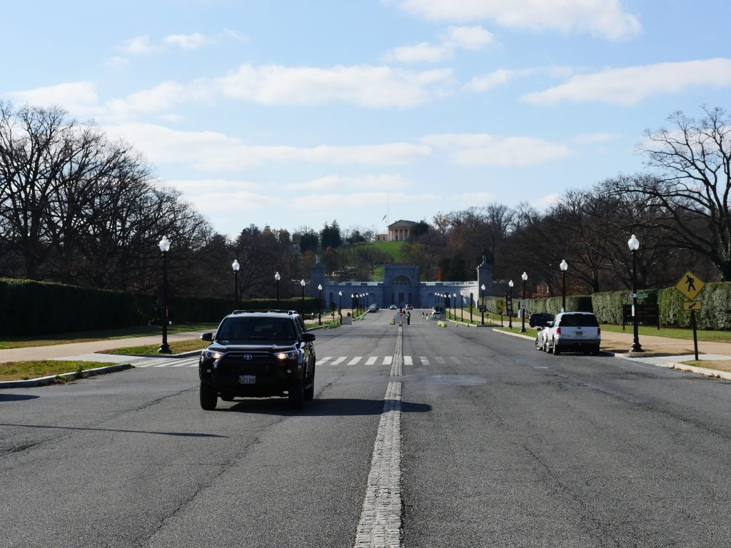The Arlington National Cemetery is on the Virginia side of the Arlington Memorial Bridge. At the end of Memorial Avenue is the Women in Military Service for America Memorial dedicated in 1997. (Alex Lucas / The Wash)