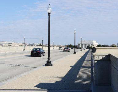 The Arlington Memorial Bridge is now open after two years of renovations. It is one of the seven major bridges that span the Potomac River into Washington. (Alex Lucas / The Wash)