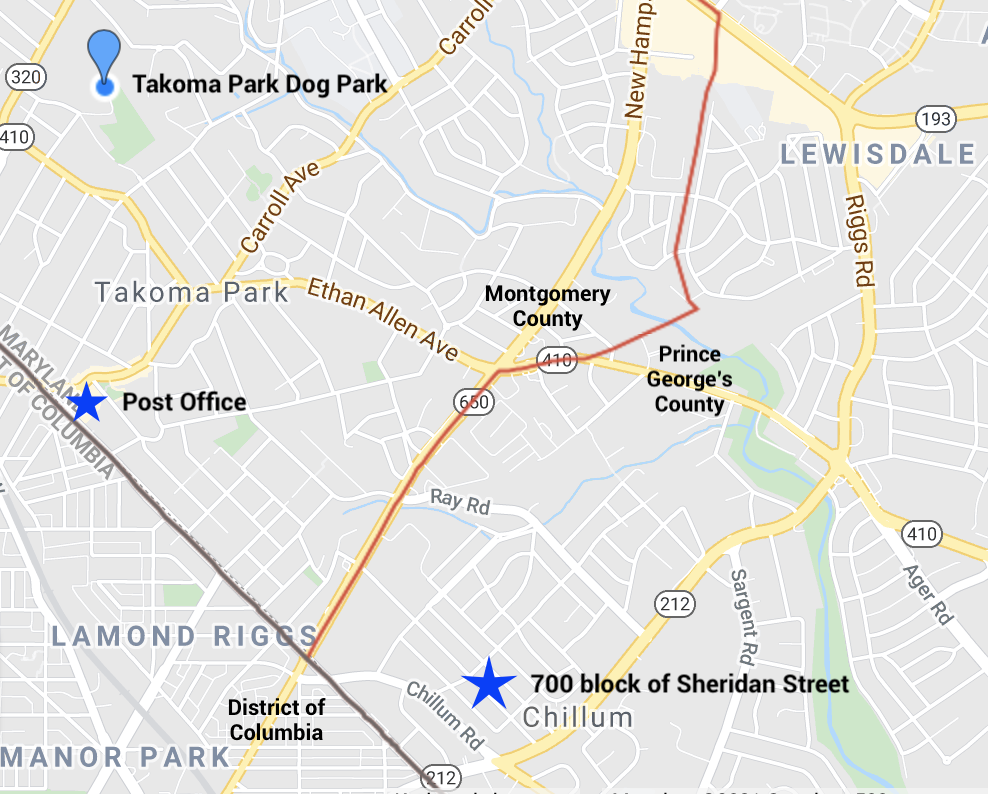 A Google maps shot depicts the locations of the Takoma Park Dog Park, post office, Montgomery County and Prince George's County boundary lines, and the location of the 700 block of Sheridan Street.