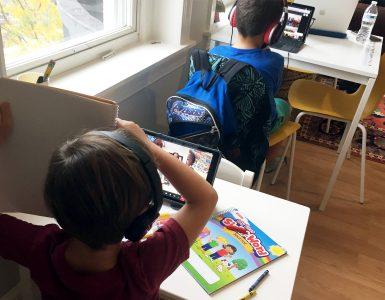 Christina Robbins' children participate in a five-student learning pod