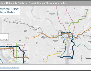WMATA 4A report map of proposed Blue Line extension through National Harbor